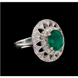 14KT White Gold 2.21 ctw Emerald and Diamond Ring