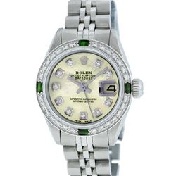 Rolex Stainless Steel Yellow MOP Diamond and Emerald DateJust Ladies Watch