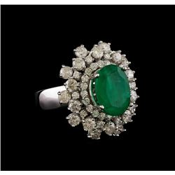 14KT White Gold 3.81 ctw Emerald and Diamond Ring