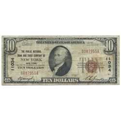 1929 $10 Note from the The Public National Bank and Trust Company of New York