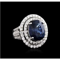 12.00 ctw Sapphire and Diamond Ring - 18KT White Gold GIA Certified