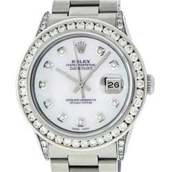 Rolex Mens SS Diamond Lugs 3.2 Ctw MOP Diamond Oyster Band Datejust Wristwatch