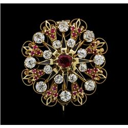 2.00 ctw Ruby and Diamond Pendant/Pin - 14KT Yellow Gold