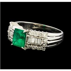 0.91 ctw Emerald and Diamond Ring - Platinum