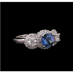 14KT White Gold 1.50 ctw Tanzanite and Diamond Ring