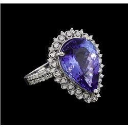 9.78 ctw Tanzanite and Diamond Ring - 14KT White Gold
