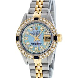 Rolex Ladies Two Tone Blue MOP String Sapphire Diamond VVS Datejust Wristwatch