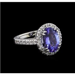 4.18 ctw Tanzanite and Diamond Ring - 14KT White Gold