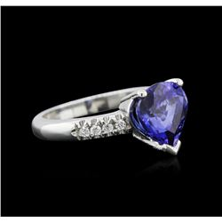2.82 ctw Tanzanite and Diamond Ring - 14KT White Gold