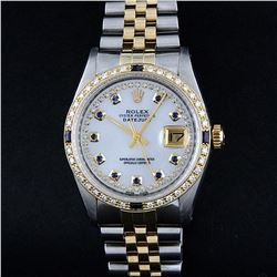 Rolex Mens Two Tone String Diamond MOP and Sapphire Datejust Wristwatch