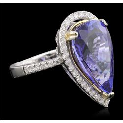 14KT Two-Tone Gold 9.41 ctw GIA Certified Tanzanite and Diamond Ring