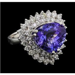 10.76 ctw Tanzanite and Diamond Ring - 14KT White Gold