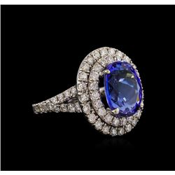 14KT White Gold 5.56 ctw Tanzanite and Diamond Ring