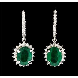 6.33 ctw Emerald and Diamond Earrings - 14KT White Gold