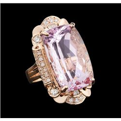 31.26 ctw Kunzite and Diamond Ring - 14KT Rose Gold