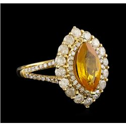 2.52 ctw Yellow Sapphire and Diamond Ring - 14KT White Gold