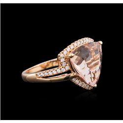 14KT Rose Gold 7.68 ctw Morganite and Diamond Ring