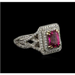 2.00 ctw Pink Tourmaline and Diamond Ring - 14KT White Gold