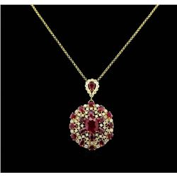 GIA Cert 31.10 ctw Ruby and Diamond Pendant With Chain - 14KT Yellow Gold