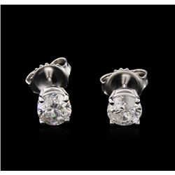 1.32 ctw Diamond Solitaire Earrings - 14KT White Gold