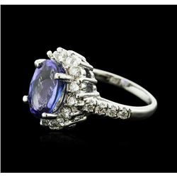 14KT White Gold 5.91 ctw Tanzanite and Diamond Ring