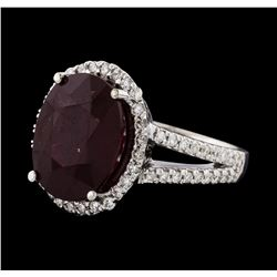 10.55 ctw Ruby and Diamond Ring - 14KT White Gold