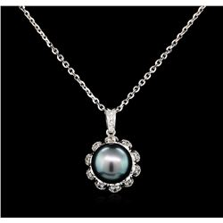 0.33 ctw Diamond and Pearl Pendant - 14KT White Gold