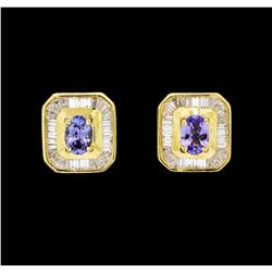 1.25 ctw Tanzanite and Diamond Earrings - 18KT Yellow Gold