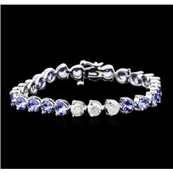 14KT White Gold 9.20 ctw Tanzanite and Diamond Bracelet