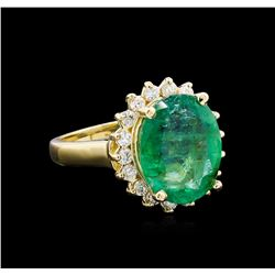 4.82 ctw Emerald and Diamond Ring - 14KT Yellow Gold