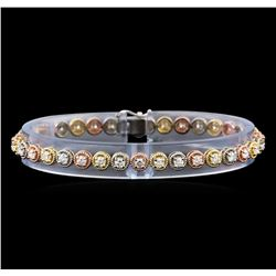 2.98 ctw Diamond Bracelet - 14KT Tri Color Gold