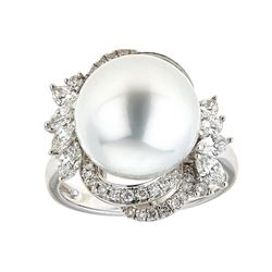 14.11 ctw South Sea Pearl and Diamond Ring - 18KT White Gold