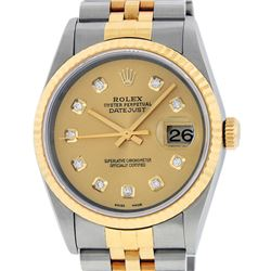 Rolex Mens 18K Two Tone Champagne Diamond Datejust Quickset Wristwatch 16233