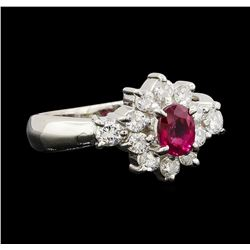 0.55 ctw Ruby and Diamond Ring - Platinum