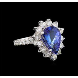 14KT White Gold 3.05 ctw Tanzanite and Diamond Ring