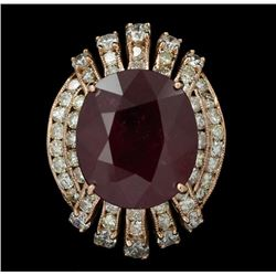 14KT Rose Gold 13.42 Ruby and Diamond Ring