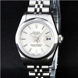 Rolex Stainless Steel Silver Index Smooth Bezel Quickset DateJust Ladies Watch