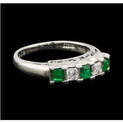 0.35 ctw Emerald and Diamond Ring - Platinum