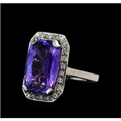 9.03 ctw Tanzanite and Diamond Ring - 14KT White Gold
