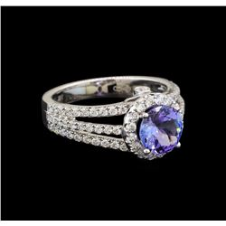 14KT White Gold 1.56 ctw Tanzanite and Diamond Ring