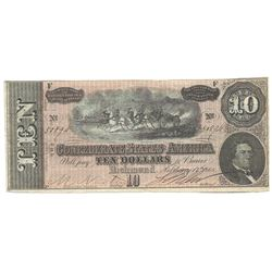 1864 $10 Confederate State of America Note