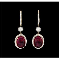 21.77 ctw Rubellite And Diamond Earrings - 18KT Rose Gold
