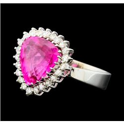 7.50 ctw Pink Tourmaline and Diamond Ring - 14KT White Gold