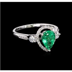 0.96 ctw Emerald and Diamond Ring - 18KT White Gold