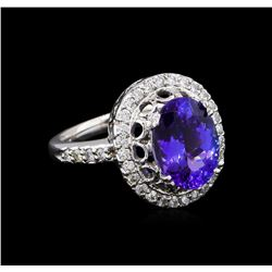 3.67 ctw Tanzanite and Diamond Ring - 14KT White Gold