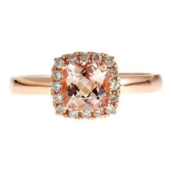 0.9 ctw Morganite and Diamond Ring - 14KT Rose Gold