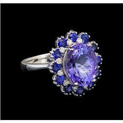 14KT White Gold 4.45 ctw Tanzanite, Sapphire and Diamond Ring