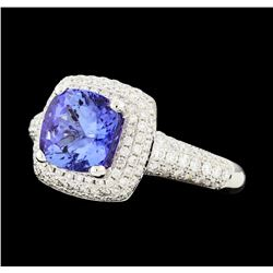 2.26 ctw Tanzanite and Diamond Ring - 18KT White Gold
