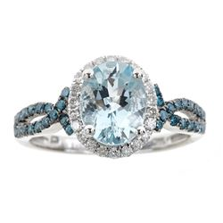 1.79 ctw Aquamarine and Diamond Ring - 14KT White Gold