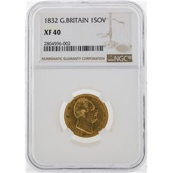 1832 NGC XF40 G. Britain 1 Sovereign Gold Coin